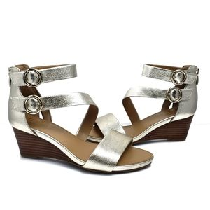 Franco Sarto Champagne Gold Wedge Sandals Size 6.5